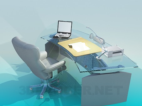 3d model Writing desk with armchair - preview