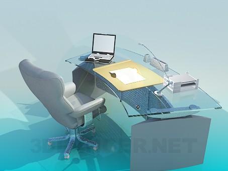 3d модель Письменный стол с креслом – превью