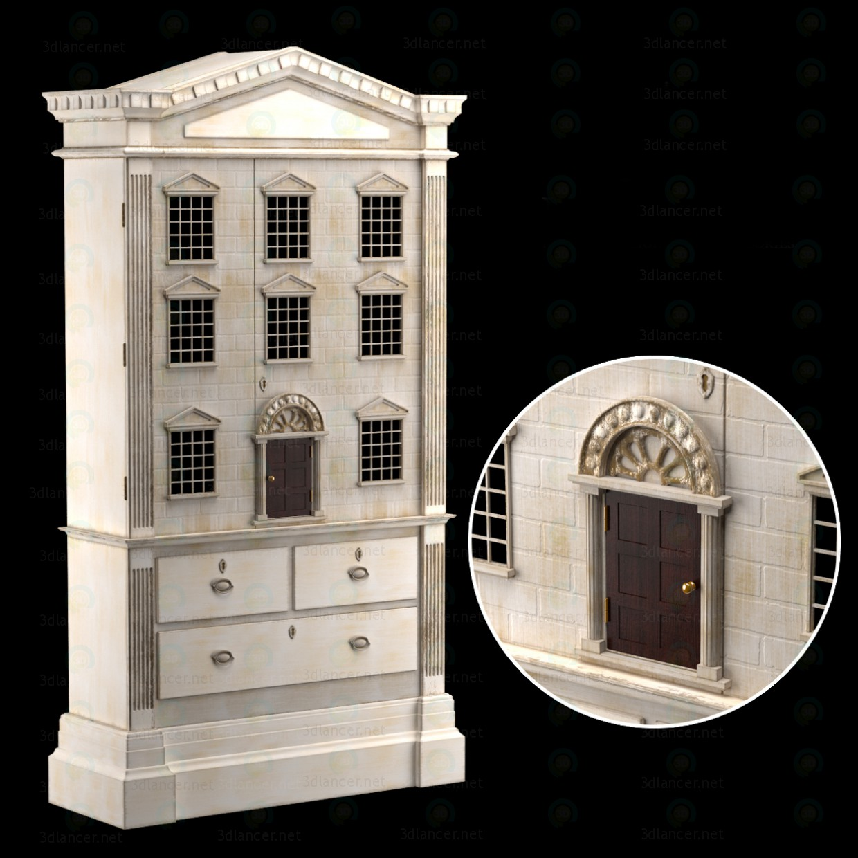 3d DOLLS HOUSE CABINET model buy - render