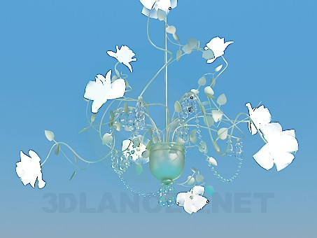 3d model Delicate chandelier with glass flowers and Crystal beads - preview