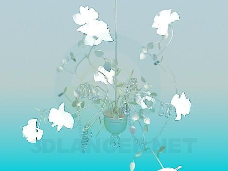 modelo 3D Delicada lámpara con flores de cristal y perlas de cristal - escuchar