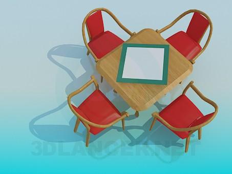 modelo 3D Una mesa en el café - escuchar