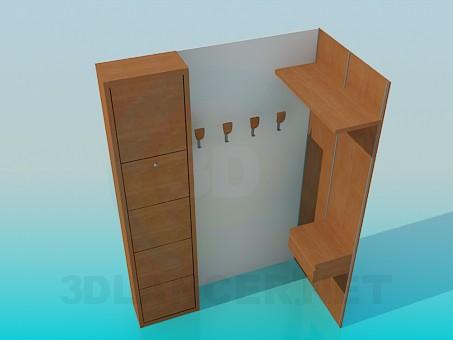 3d model Armario de esquina en el pasillo - vista previa