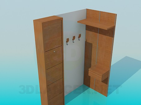 3d model Corner wardrobe in the hallway - preview
