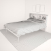 3d DARK CAPPUCCINO FULL DOUBLE BED WITH BOOKCASE HEADBOARD model buy - render