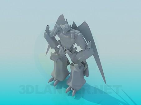 modelo 3D Transformador de vuelo - escuchar