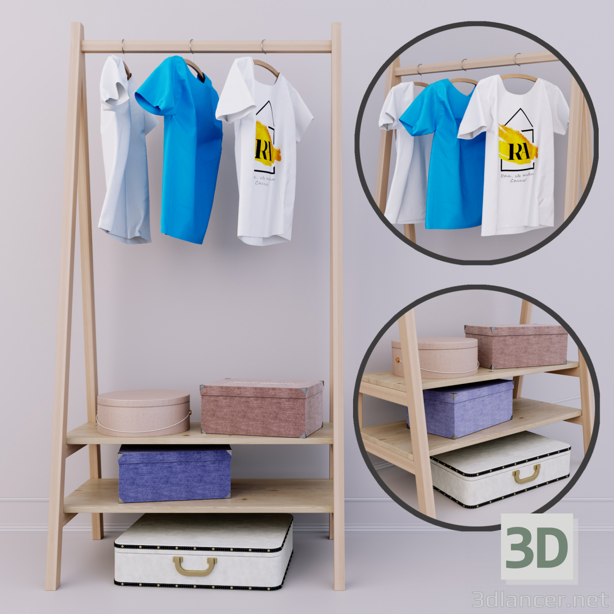 3d Hanger | set in the hallway model buy - render