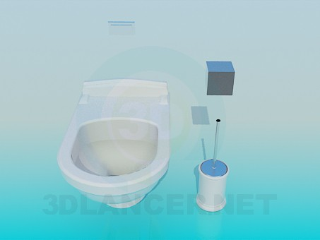 3d model Toilet with flushing box integrated in wall - preview