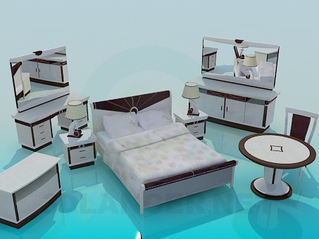 3d модель Комплект мебели для спальни – превью