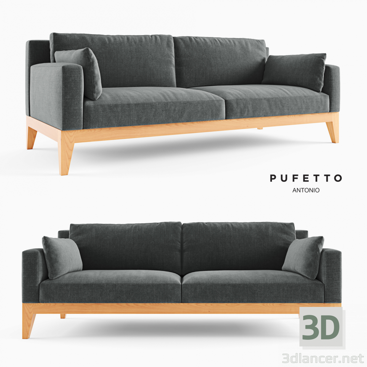 3d model modern sofa in the style of minimalism id 22546. Black Bedroom Furniture Sets. Home Design Ideas
