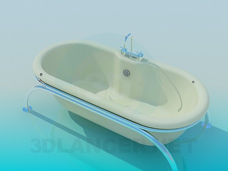 3d model Bath on stainless steel legs - preview