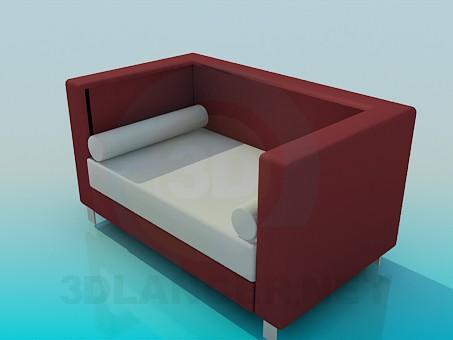 modelo 3D Sofá con rodillos - escuchar