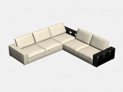 Sofa modular angular (large, with shelves) Portland