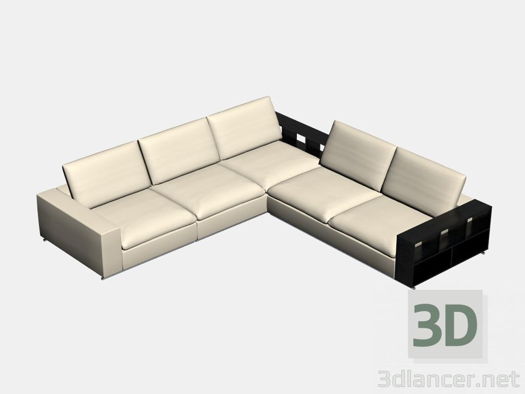 3d modella angolo divano modulare grande con ripiani portland dal