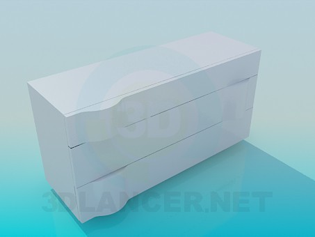 3d model White commode - preview