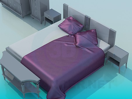 3d model Bed, dresser drawers and in the set - preview