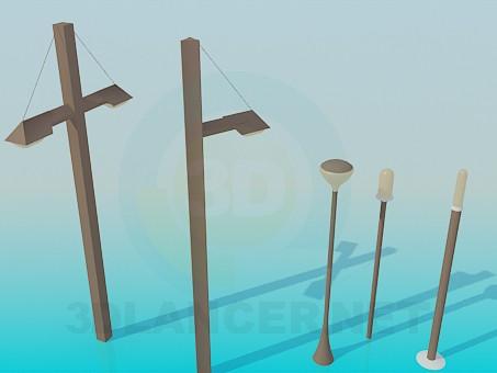 3d модель Уличные фонари – превью