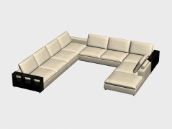 Sofa modular U-shaped (with shelves) Portland