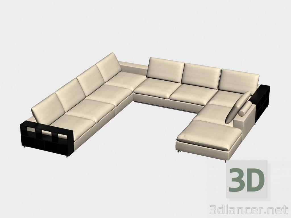 Modelo 3d Modular Sofá en forma de U (con estantes) Portland del ...