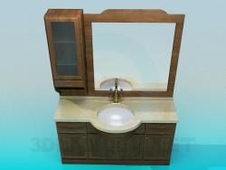 Lavatório, cómoda, espelho