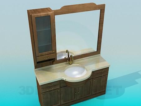 modelo 3D Lavabo, tocador, espejo - escuchar