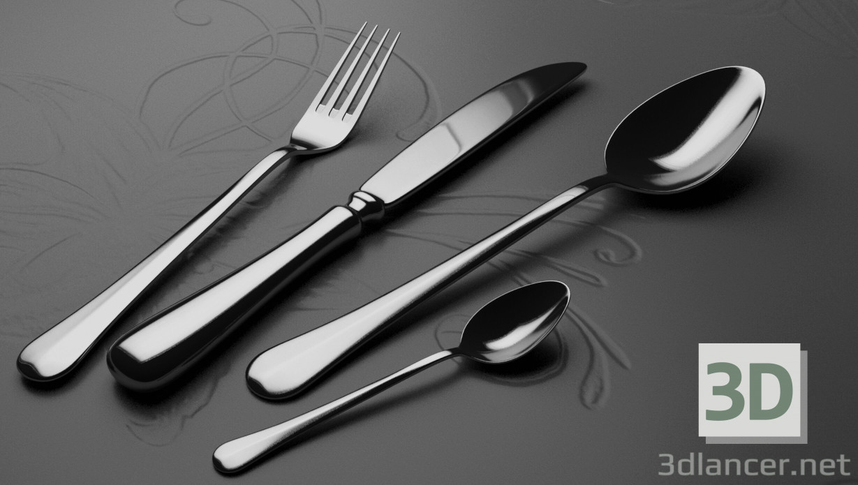 3d modeling cutlery model free download