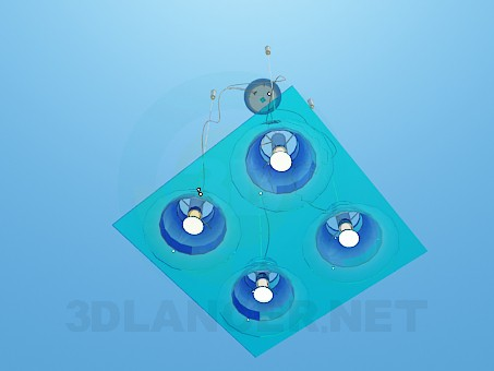 3d model Square flat luminaire - preview