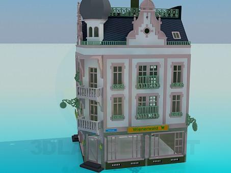 3d модель Угловое здание – превью