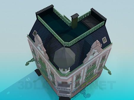 3d model Corner building - preview