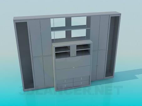 3d моделювання Шафа-стінка з вузькими дверцями і секретером в центрі модель завантажити безкоштовно