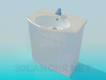 3d model Wash basin on the bedside table with drawers - preview