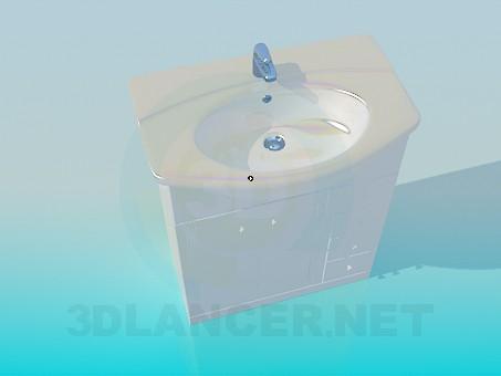 3d модель Умывальник на тумбе с ящиками – превью