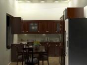Интерьер кухни полностью с мебелью и обеденным столом