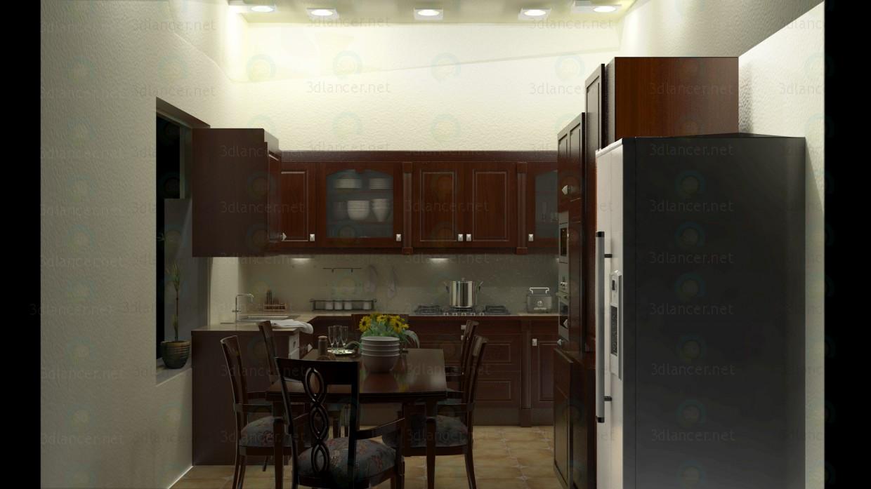 descarga gratuita de 3D modelado modelo Kichen interior con muebles completos y mesa de comedor