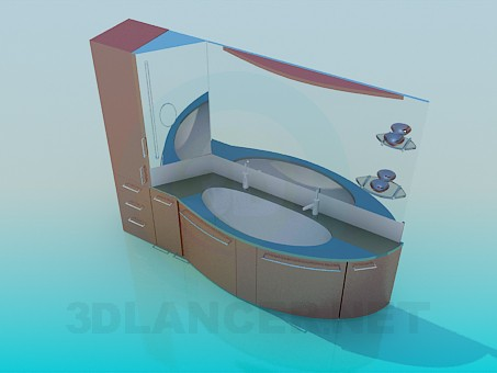 3d модель Шикарный умывальник с зеркалом и шкафом – превью