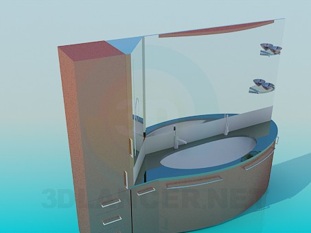 3d model Chic washbasin with mirror and cabinet - preview
