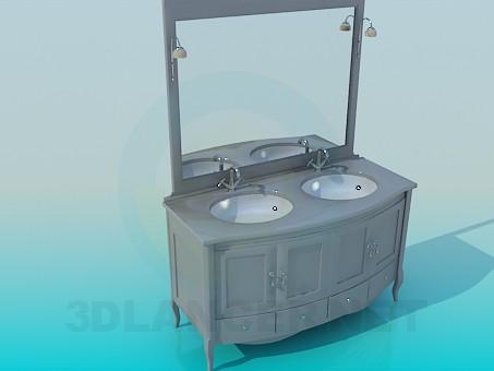 modelo 3D Cajonera con espejo para dos fregaderos - escuchar