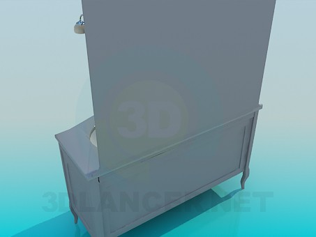 3d model Chest of drawers with mirror for two sinks - preview