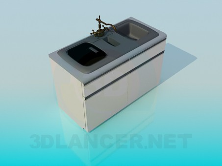 3d модель Подвійна кухонна раковина – превью