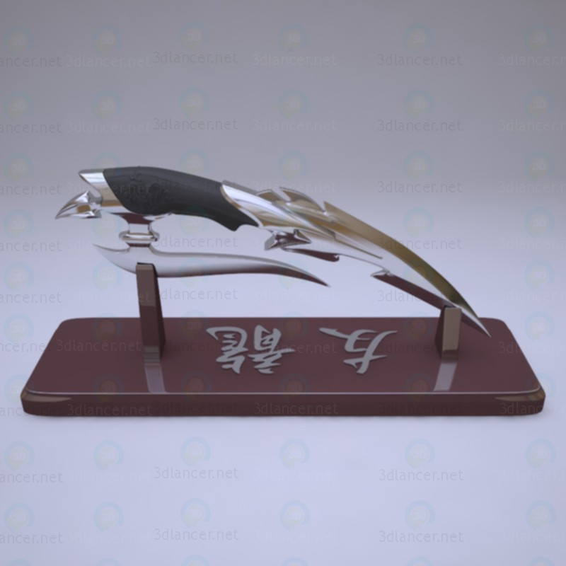 "3d Japanese knife ""friend of the Dragon"" model buy - render"