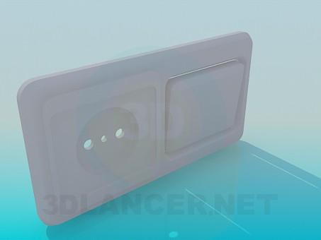 3d моделирование Розетка с выключателем модель скачать бесплатно