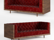 Mid Century Danish Modern Tufted Milo Baughman Style Walnut Encased sofa