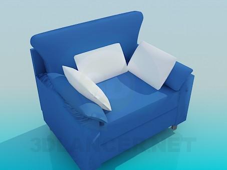 3d модель Широкое кресло с тремя подушками – превью