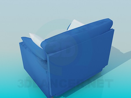 3d model Wide seat with three pillows - preview