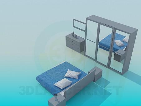 3d модель Мебель в спальню – превью