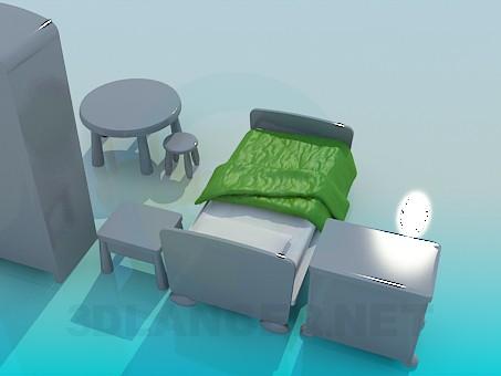 3d модель Мебель в детскую – превью