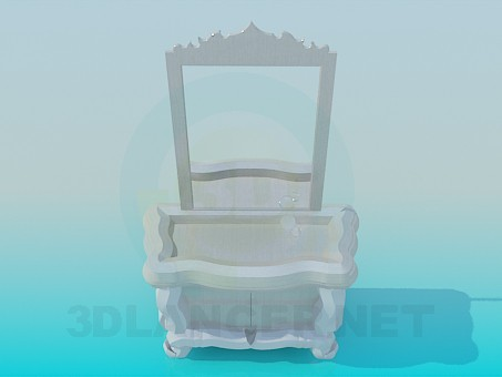 3d model The mirror and stand in the hallway - preview