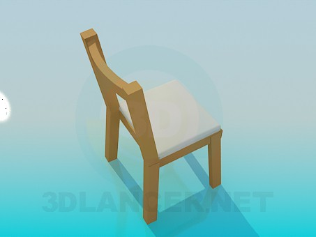 3d model Stool with back-end - preview