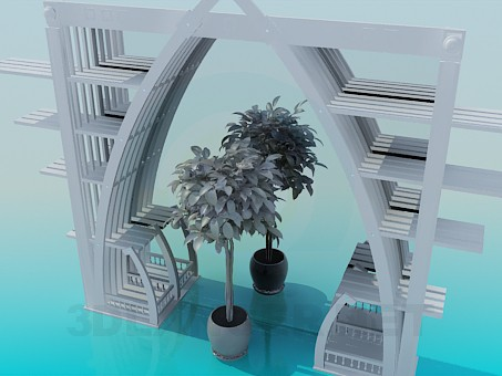 3d model Shelves with vases - preview