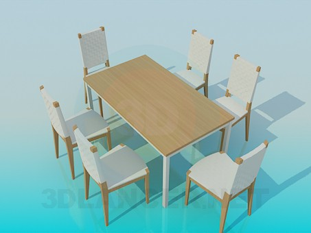 3d modeling Dining table with chairs model free download